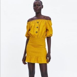 Zara Yellow Rustic Dress, Size S